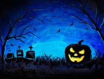 Halloween pumpkin, dark graves and bats in blue Forest painting, illustration. Halloween background. Royalty Free Stock Image