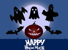 Halloween pumpkin. Halloween Party Background with Pumpkins, Bats and Ghost silhouette Stock Images