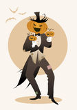 Halloween pumpkin playing music. Maracas Royalty Free Stock Photography