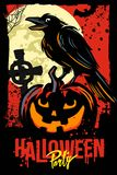 Halloween pumpkin with raven. Halloween pumpkin with black raven. Vector illustration Royalty Free Stock Images