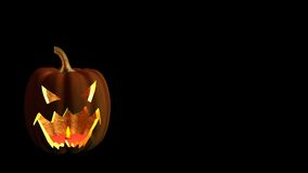 Halloween pumpkin rendered on black with copyspace Stock Photos