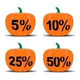 Halloween pumpkin sale. Halloween pumpkin set with sale Royalty Free Stock Photography