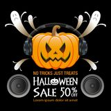 Halloween sale background. Halloween pumpkin  and sale text on black background Royalty Free Stock Image