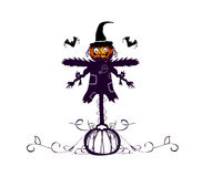 Halloween pumpkin and scarecrow Royalty Free Stock Image