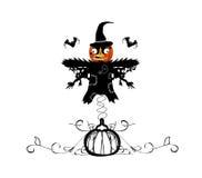 Halloween pumpkin and scarecrow Royalty Free Stock Photos