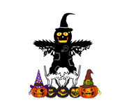 Halloween pumpkin and scarecrow Royalty Free Stock Images