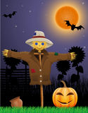 Halloween pumpkin and scarecrow in the night sky Stock Images