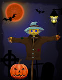 Halloween pumpkin and scarecrow in the night sky Stock Image