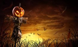 Free Halloween Pumpkin Scarecrow On A Wide Field With The Moon On A Scary Night Stock Images - 157880874