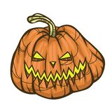 Halloween Pumpkin. Scary Halloween cartoon pumpkin on white background. Vector illustration for holiday decorations stock illustration
