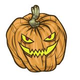 Halloween Pumpkin. Scary Halloween cartoon pumpkin on white background. Vector illustration for holiday decorations royalty free illustration