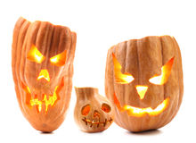 Halloween pumpkin with scary evil faces Royalty Free Stock Images
