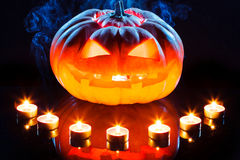 Halloween pumpkin with scary face and burning Royalty Free Stock Photography