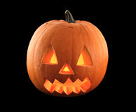 Halloween pumpkin with scary face isolated black background. Royalty Free Stock Photography