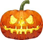 Halloween pumpkin with scary face on white. Low poly Royalty Free Stock Images