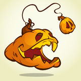 Halloween pumpkin with scary face on white. Vector illustration isolated Stock Photo