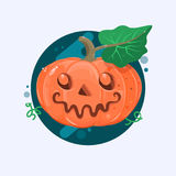 Halloween pumpkin with scary face on white. Vetor illustration. Halloween pumpkin with scary face on white. Flat vetor illustration Stock Images
