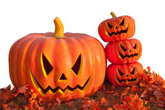 Halloween Pumpkin , Scary Jack O'Lantern, isolated on white with clipping path Stock Photo