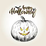 Halloween. Pumpkin with scary smilling curved face. Vintage hand drawn illustration. Vector greeting card for Halloween. Pumpkin with scary smilling curved face Royalty Free Stock Photography