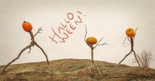 Halloween Pumpkin Scary Stick figures Stock Images