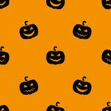 Halloween pumpkin. Seamless pattern. Orange background. Vector Illustration. Royalty Free Stock Photography