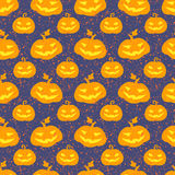 Halloween Pumpkin Seamless Vector Pattern Stock Photo