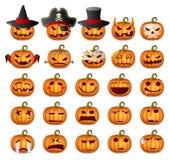Halloween Pumpkin Set. Halloween Pumpkins; Horror Persons; Emotion Variation; Vector Icon Set Stock Photos