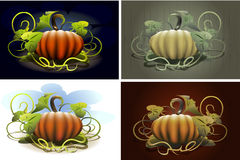 Halloween pumpkin set. Contains four pumpkin images drawn in different styles royalty free illustration
