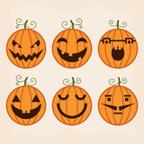 Halloween pumpkin set with different emotions. Royalty Free Stock Image