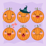 Halloween pumpkin set with different emotions Stock Photos