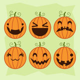 Halloween pumpkin set with different emotions Royalty Free Stock Photography