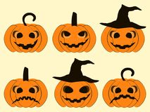 Halloween pumpkin set isolated on white background. Jack o lantern icons. Vector. Illustration Royalty Free Stock Photos
