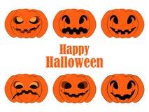 Halloween pumpkin set isolated on white background. Jack o lantern icons. Vector Stock Photos