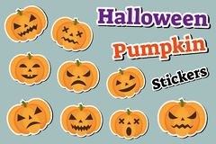 Halloween pumpkin set of stickers emoji, patches badges.. Scary emoticons with pumpkins. Vector illustration Royalty Free Stock Photo