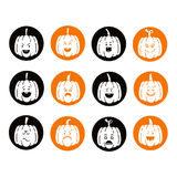 Halloween pumpkin set. Vector Halloween pumpkin  icons set. Emotion Variation. Flat style design elements. Set of scary and cute facial expressions. Spooky Royalty Free Stock Image