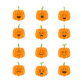 Halloween pumpkin set. Vector Halloween pumpkin  icons set. Emotion Variation. Flat style design elements. Set of scary and cute facial expressions. Spooky Stock Photography