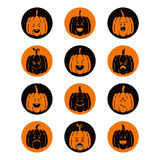 Halloween pumpkin set. Vector Halloween pumpkin  icons set. Emotion Variation. Flat style design elements. Set of scary and cute facial expressions. Spooky Stock Images