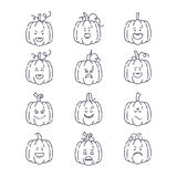 Halloween pumpkin set. Vector Halloween pumpkin linear icons set. Emotion Variation. Line flat style design elements. Set of scary and cute facial expressions Royalty Free Stock Photo