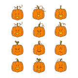 Halloween pumpkin set. Vector Halloween pumpkin linear icons set. Emotion Variation. Line flat style design elements. Set of scary and cute facial expressions Stock Photography