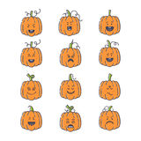 Halloween pumpkin set. Vector Halloween pumpkin linear icons set. Emotion Variation. Line flat style design elements. Set of scary and cute facial expressions Stock Image