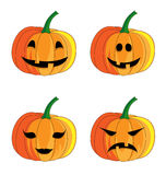 Halloween pumpkin set on white background. Stock Photos