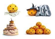 Halloween pumpkin set on a white background 3D illustration, 3D rendering Stock Images