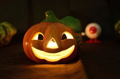 Halloween pumpkin shaped candle holder Royalty Free Stock Photo
