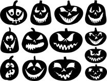 Halloween pumpkin silhouettes Royalty Free Stock Photos