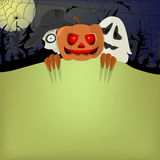 Halloween pumpkin, skeleton and ghost in the night sky Royalty Free Stock Photo