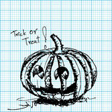 Halloween pumpkin sketch on graph paper  Royalty Free Stock Photography