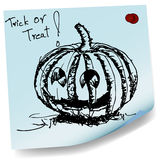 Halloween pumpkin sketch on sticky  paper vector Stock Photo