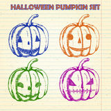 Halloween pumpkin sketches set Royalty Free Stock Images