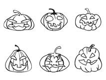 Halloween pumpkin sketchy outline icons Royalty Free Stock Images