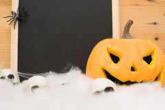 Halloween pumpkin and skull Royalty Free Stock Photo
